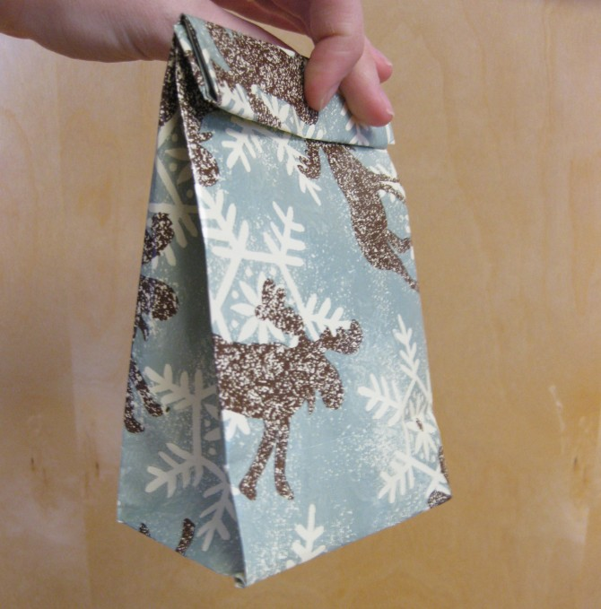paper crafts for kids: christmas gift bags from left over wrapping paper