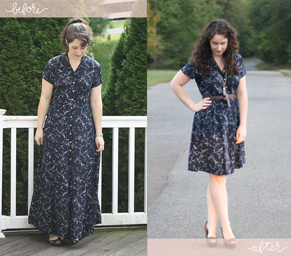 Alternative method for shortening a long dress