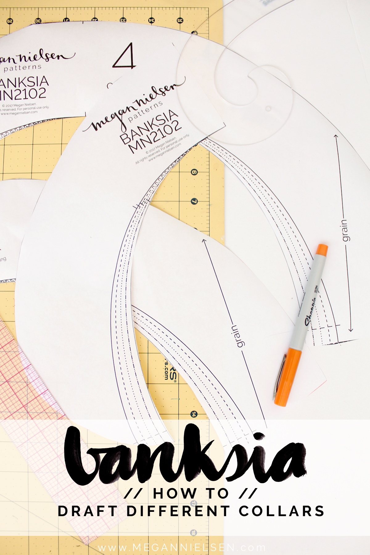 how to draft different collars for the Banksia Blouse // tutorial on Megan Nielsen Design Diary