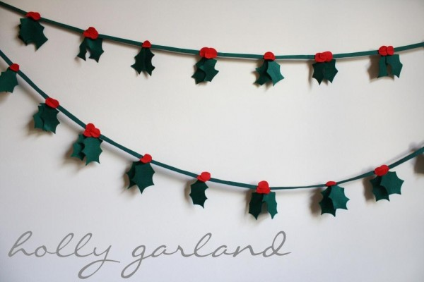 Holly christmas garland