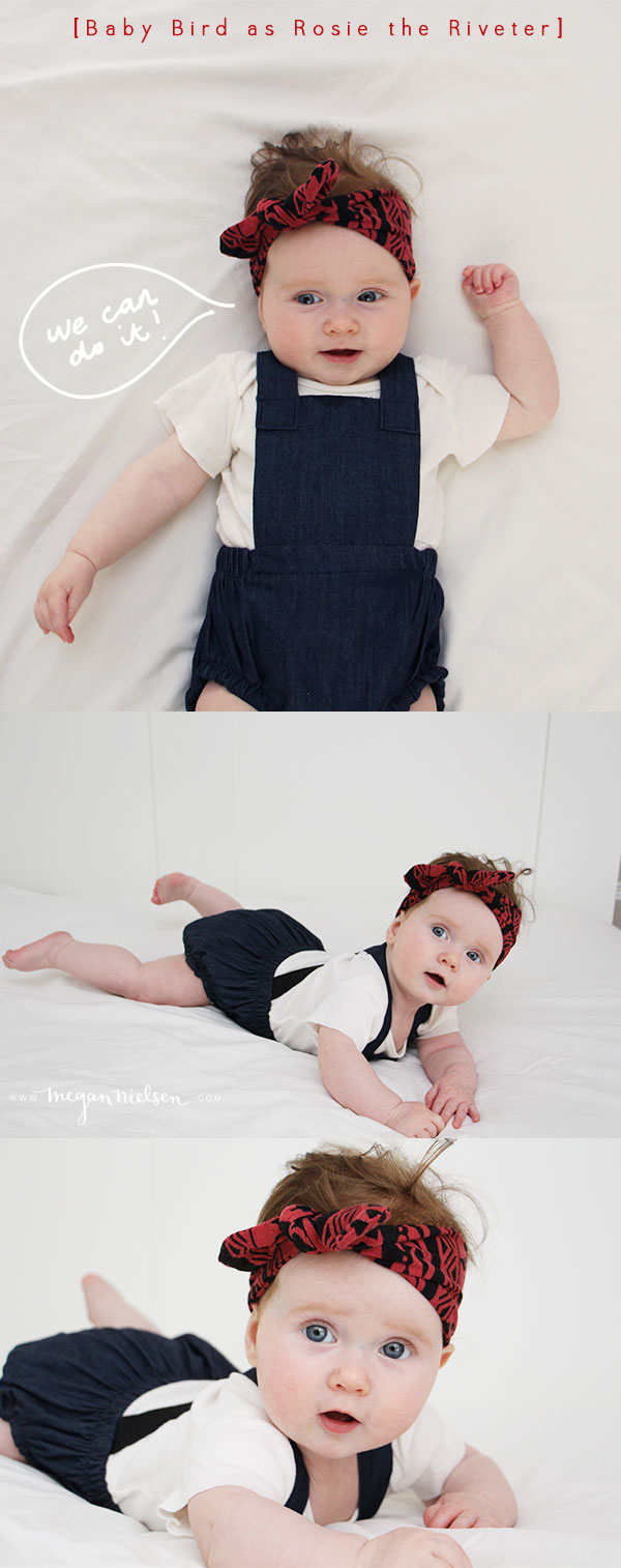 Rosie the Riveter baby costume by Megan Nielsen