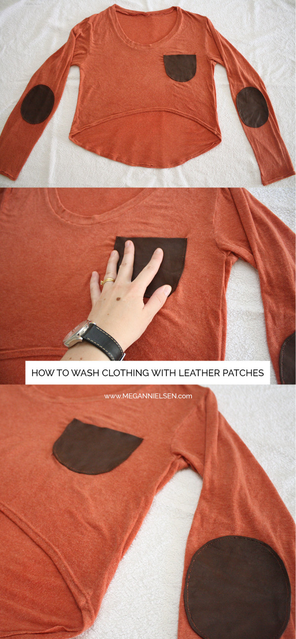 How to wash clothing with leather patches