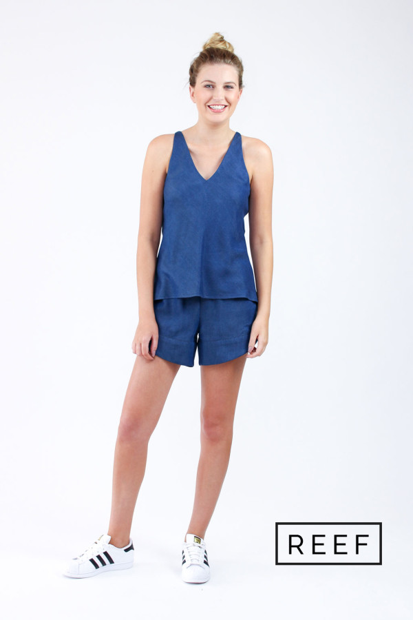 Megan Nielsen Reef Sewing pattern // Camisole and shots set with Bias cut and cross over yoke