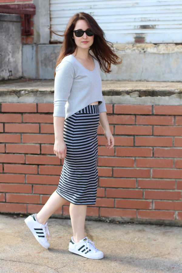 Megan Nielsen Axel skirt V3 in stripes