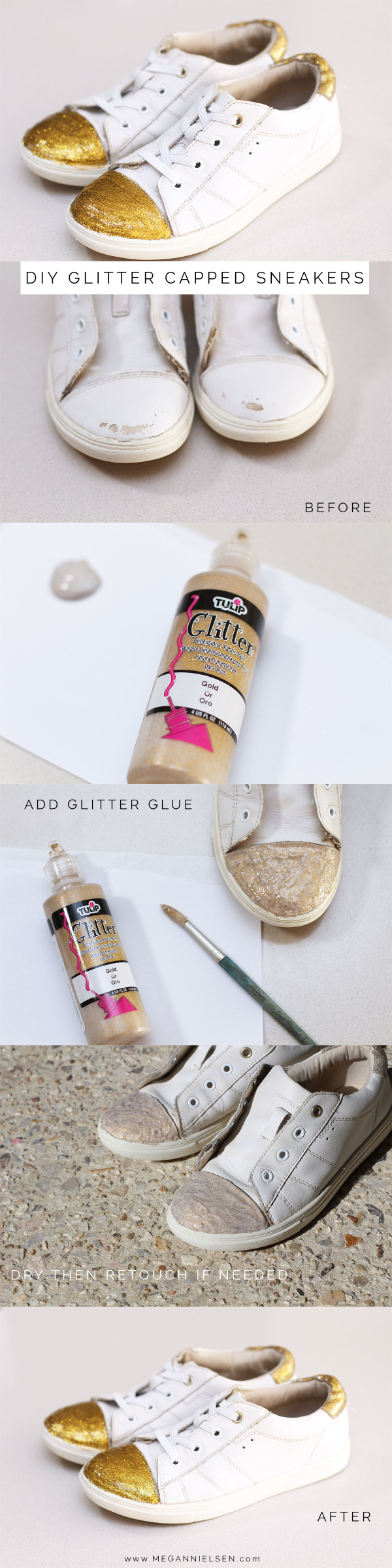 DIY glitter capped sneakers // Fixed your scuffed up sneakers by covering the toe caps in fabric glitter glue! Full tutorial on Megan Nielsen Design Diary