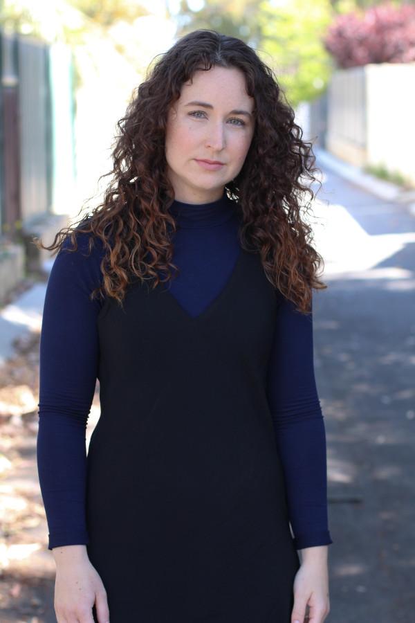 Reef dress layered over navy turtleneck // Megan Nielsen Design Diary