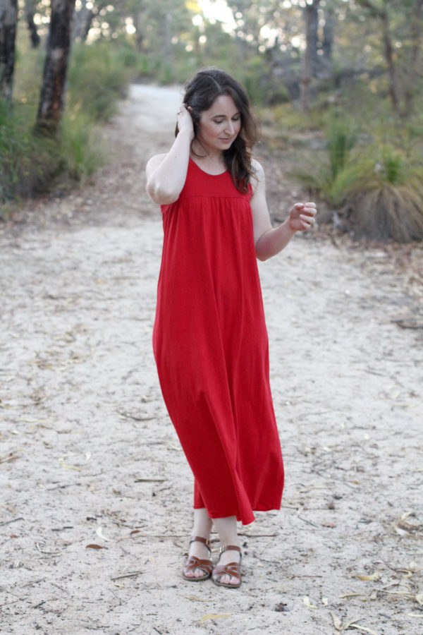 Red Rie Maxi Dress // Megan Nielsen Design Diary