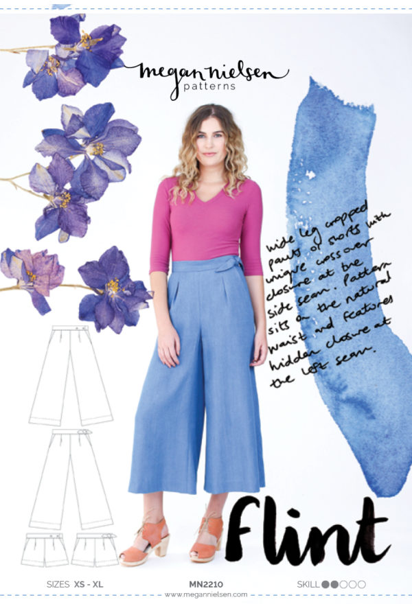 Megan Nielsen Flint sewing pattern // Cropped pants and shorts with unique crossover closure