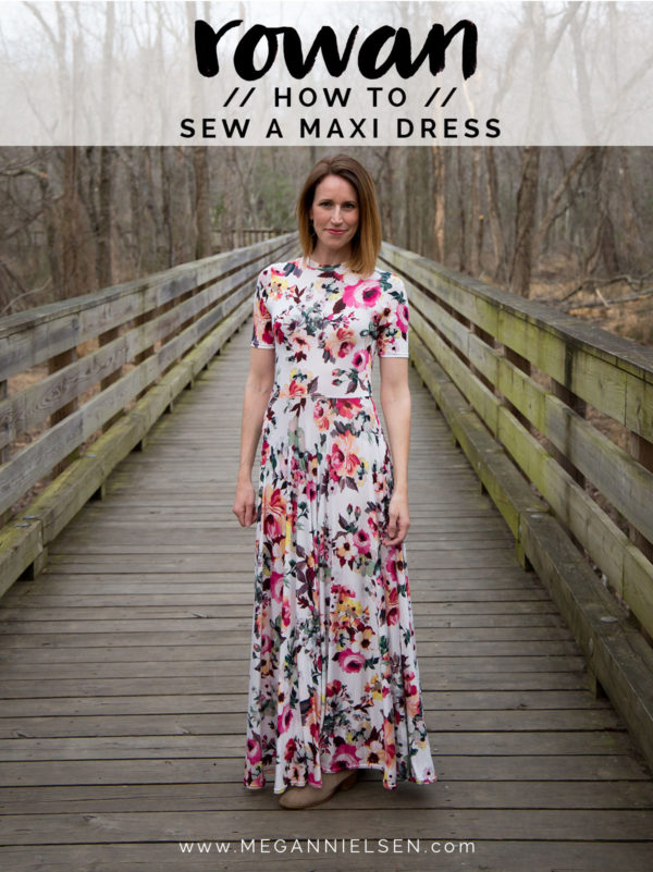 How to sew a jersey maxi dress using the Rowan tee sewing pattern // tutorial on Megan Nielsen Design Diary