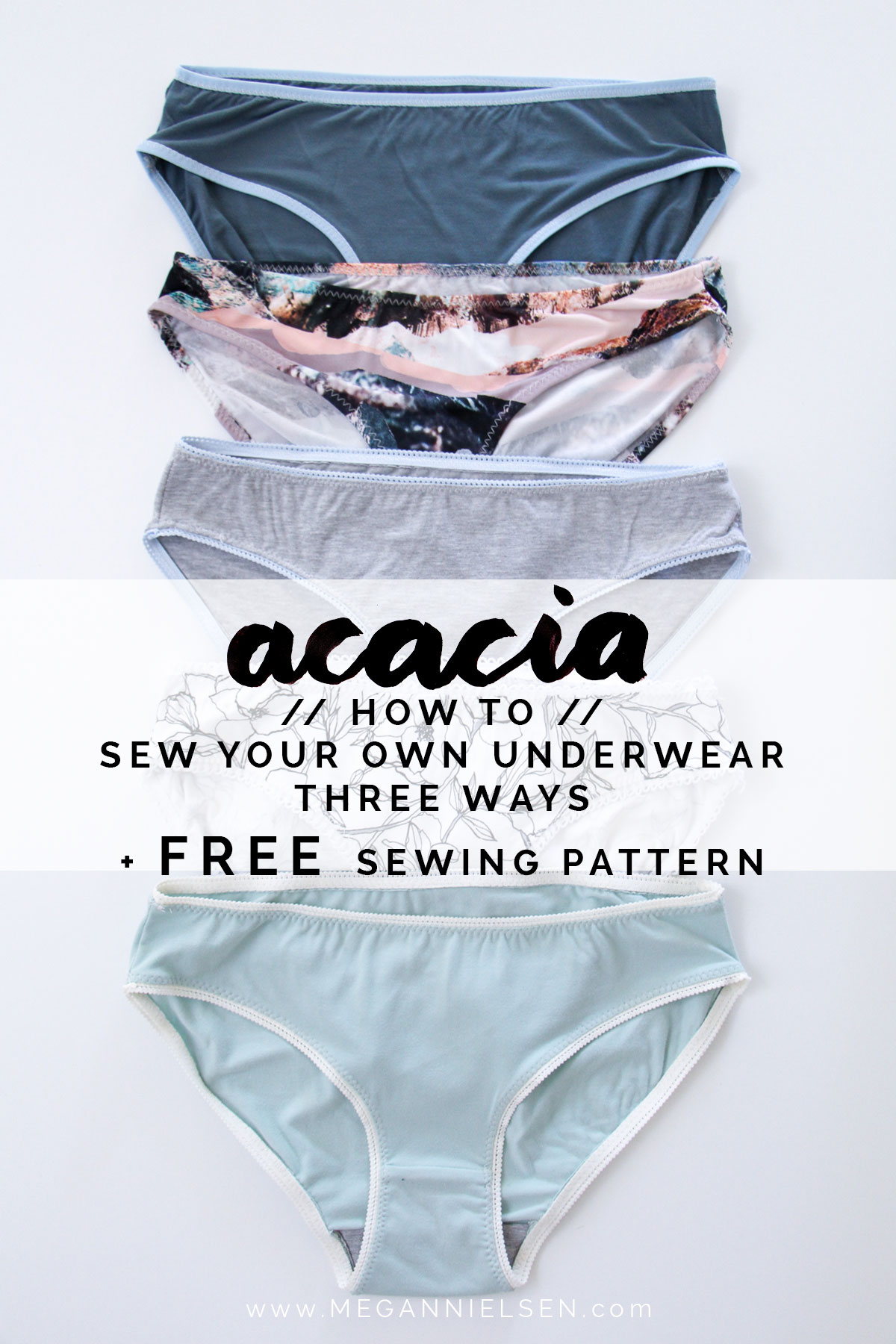 How to sew your own underwear with FREE sewing pattern by Megan Nielsen // includes three methods for attaching elastic