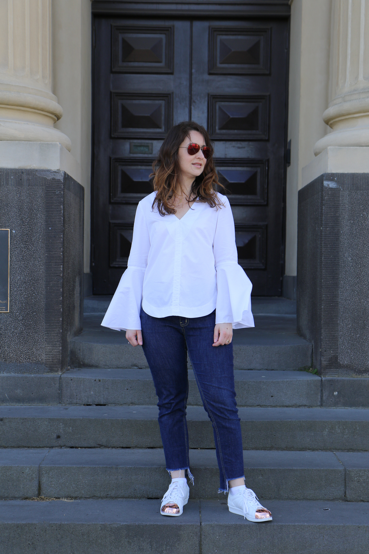 Megan Nielsen Ash Jeans Version 1 slim leg in Potter Textiles denim with frayed step hem paired with white shirting Dove blouse