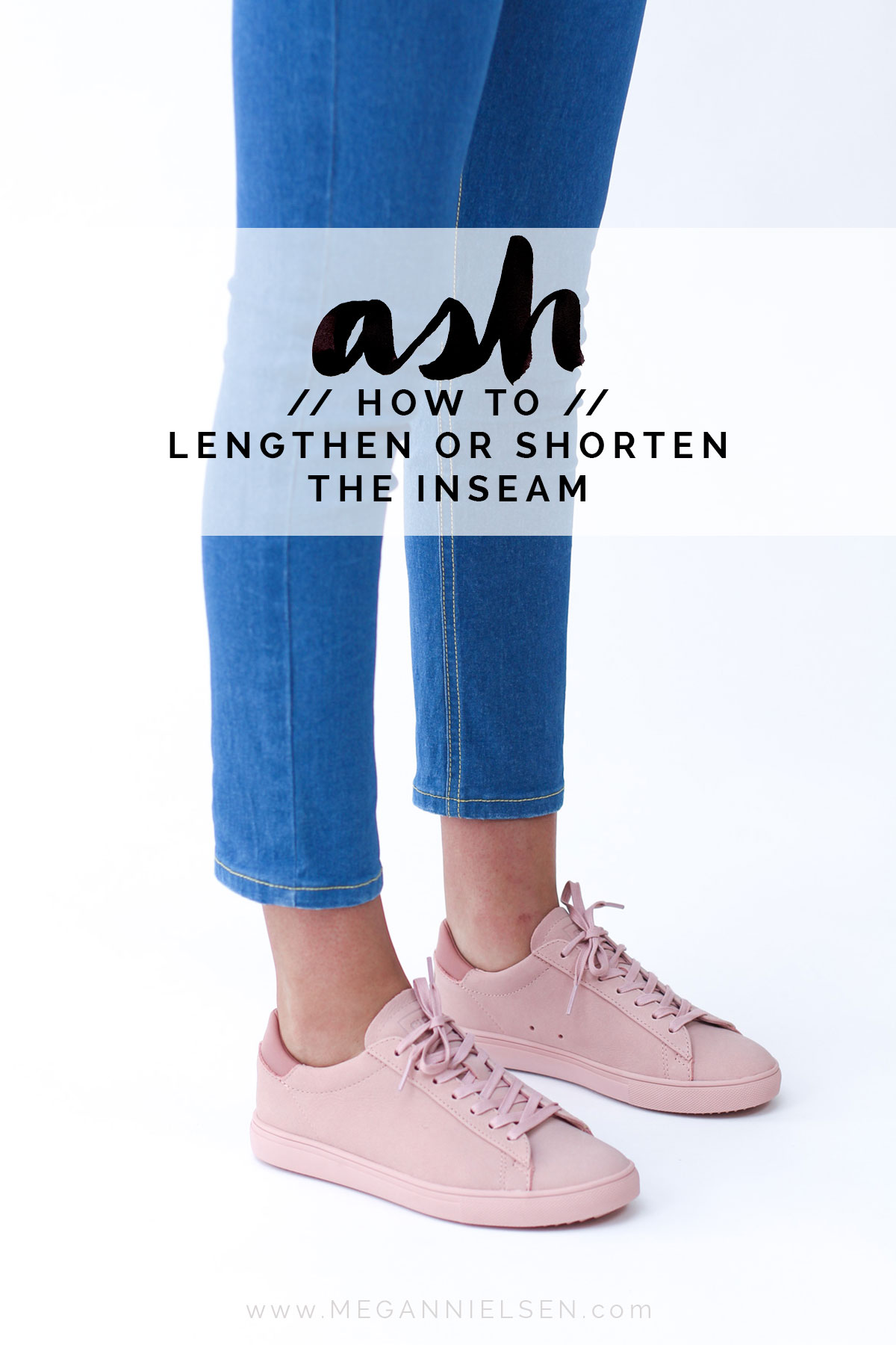 How to lengthen or shorten the inseam length on a pants or jeans sewing pattern // Ash jeans sewalong on Megan Nielsen Design Diary