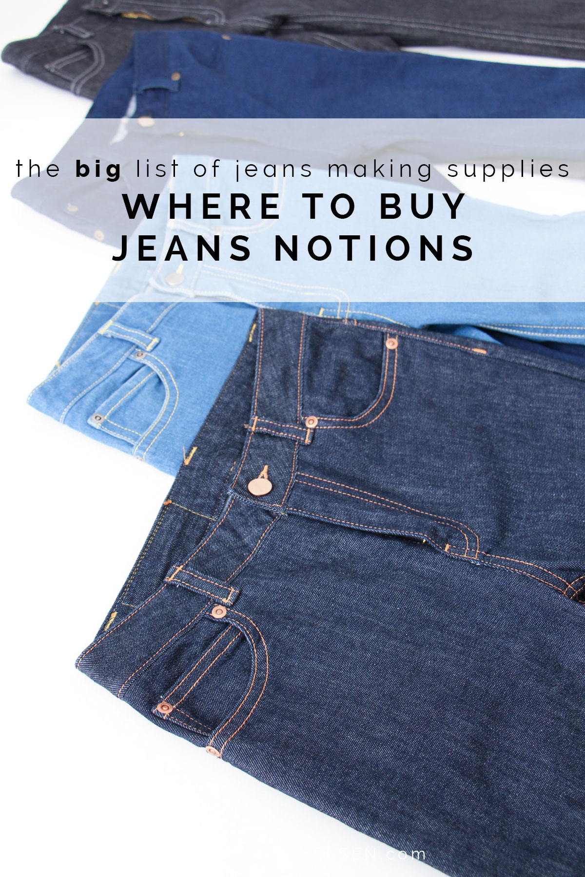 The BIG list of where to buy jeans making supplies // fabric, notions, kits, hardware - links to everything you will need to make an amazing pair of jeans! // Ash Jeans sewalong on Megan Nielsen Design Diary
