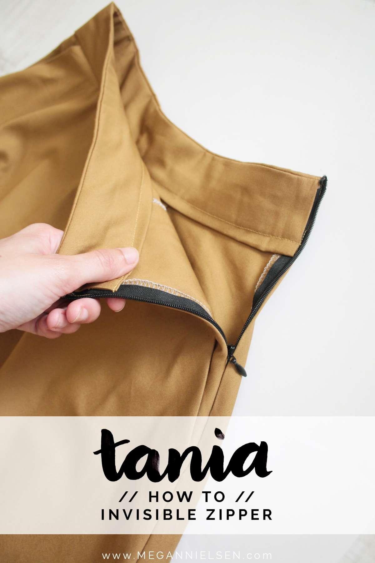 sewing the invisible zipper on the Tania Culottes by Megan Nielsen Patterns