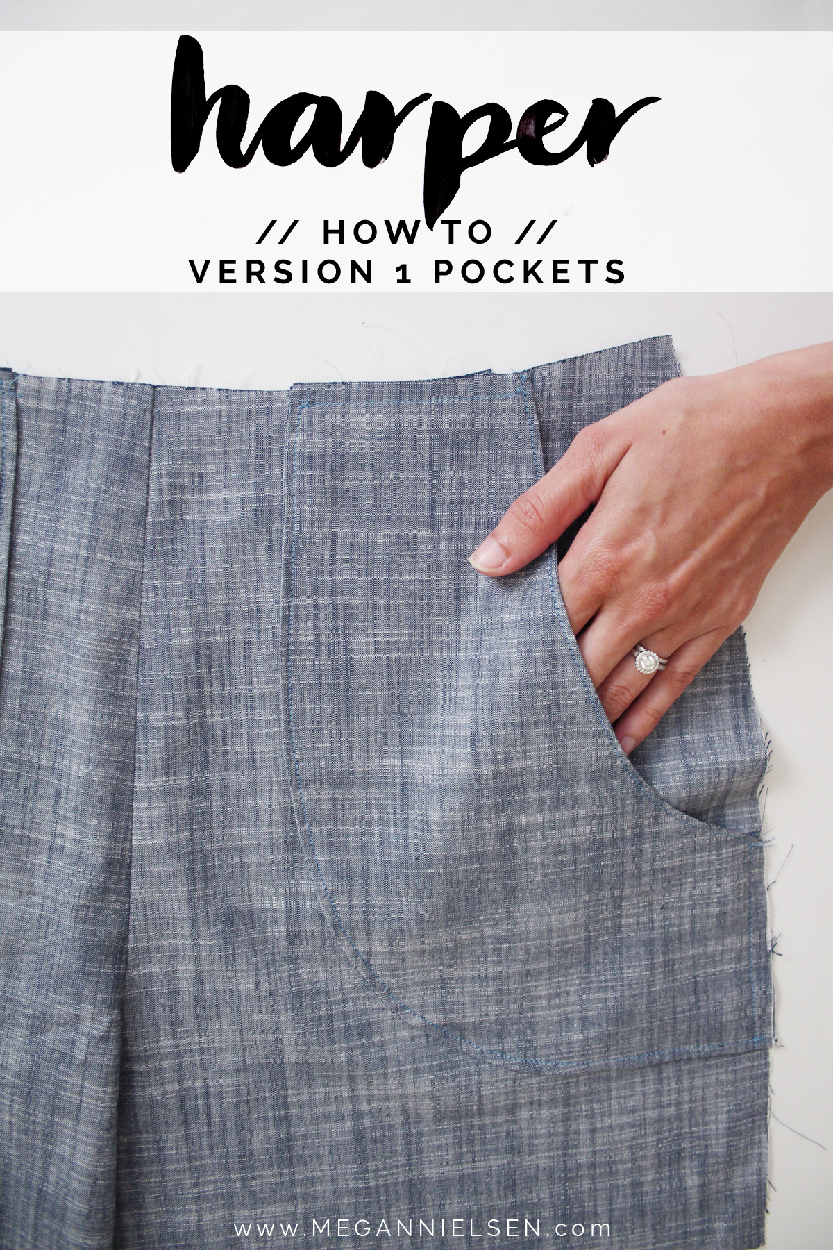 How to sew the version 1 pockets of the Harper shorts by Megan Nielsen Patterns
