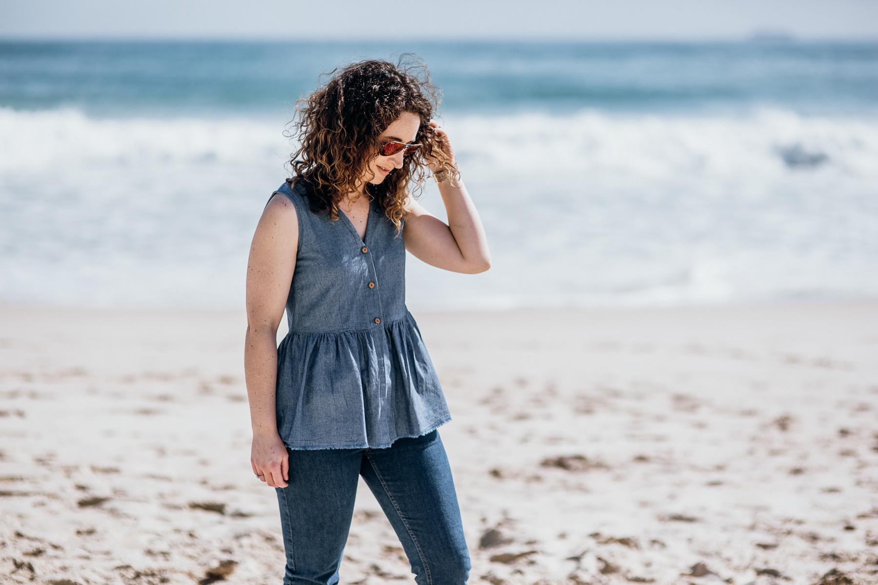 Darling Ranges sewing pattern sewn as a peplum top!! Megan Nielsen Design Diary
