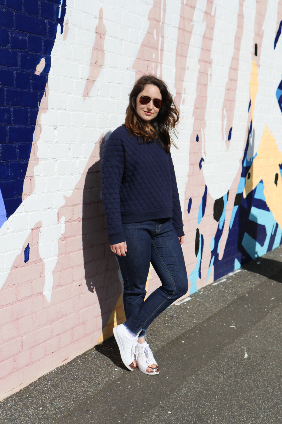 My favourite Jarrah sweater using quilted sweatshirt fabric from KnitWit! Megan Nielsen Design Diary