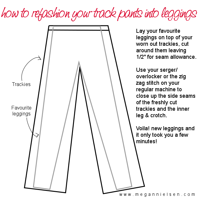How to refashion track pants into leggings