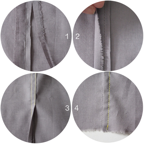 Step by step images to create a flat felled seam