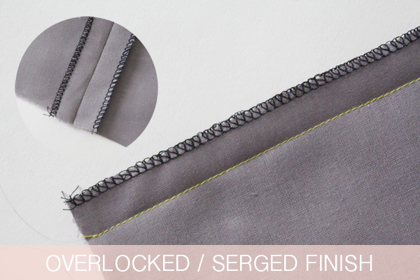 Overlocked or serged finish