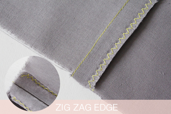 Zig zag edge seam