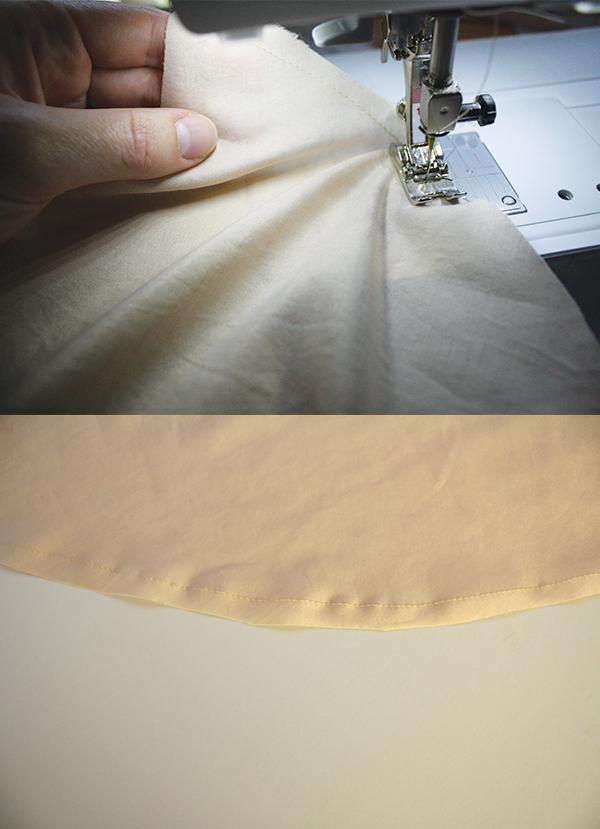 Sew 0.6cm from the raw edge around the hem