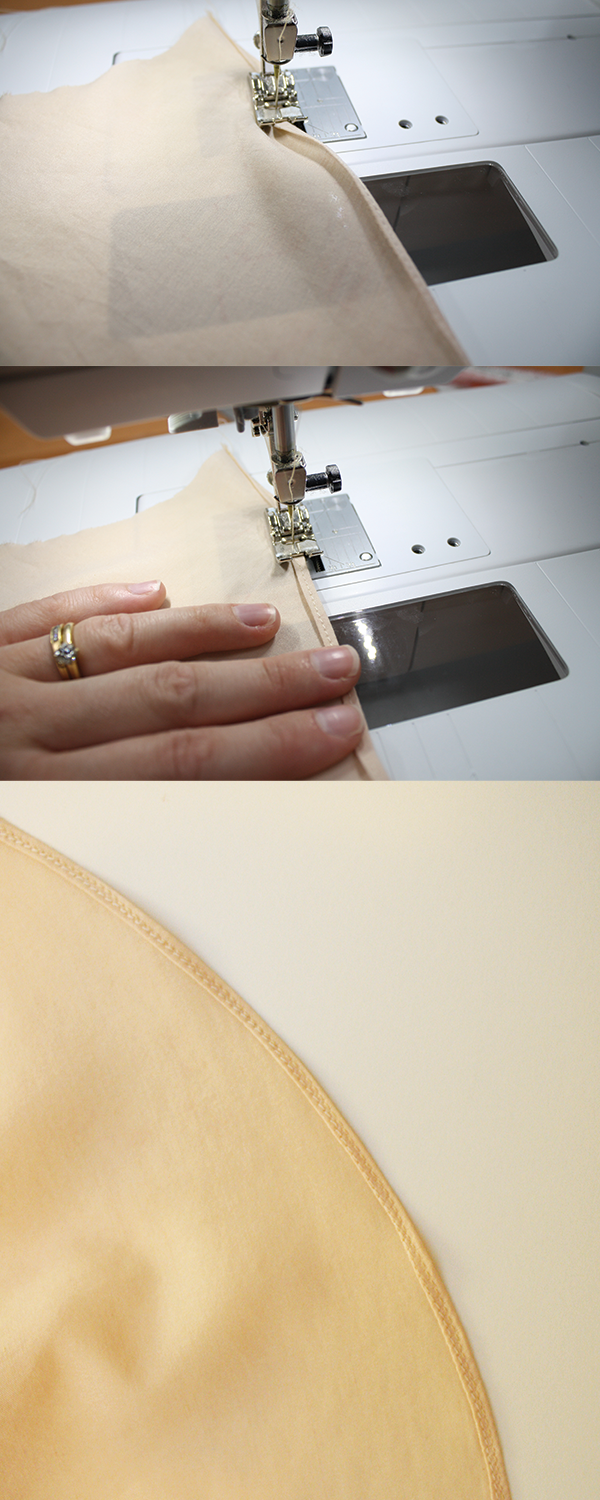 Fold the hemline once again and sew to create a small edge