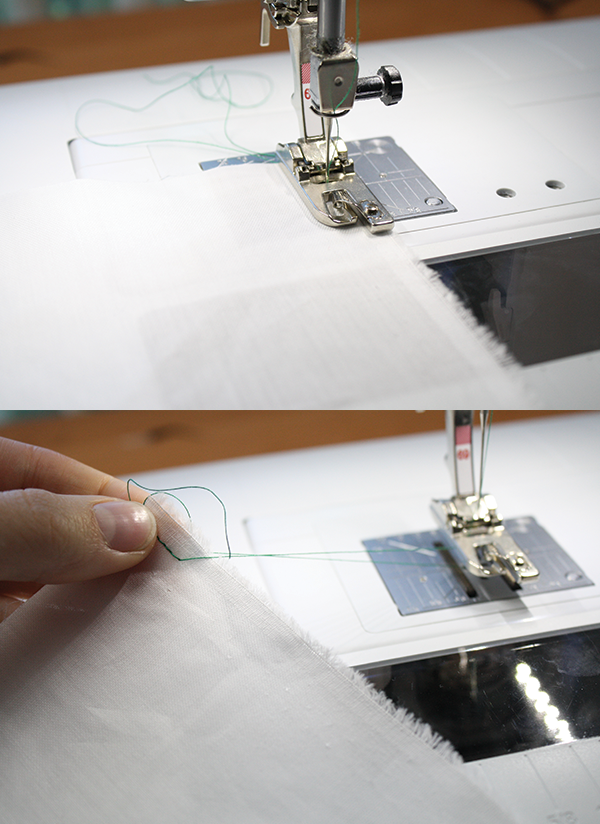 Sew a few basting stitches with your rolled hem foot to start it off