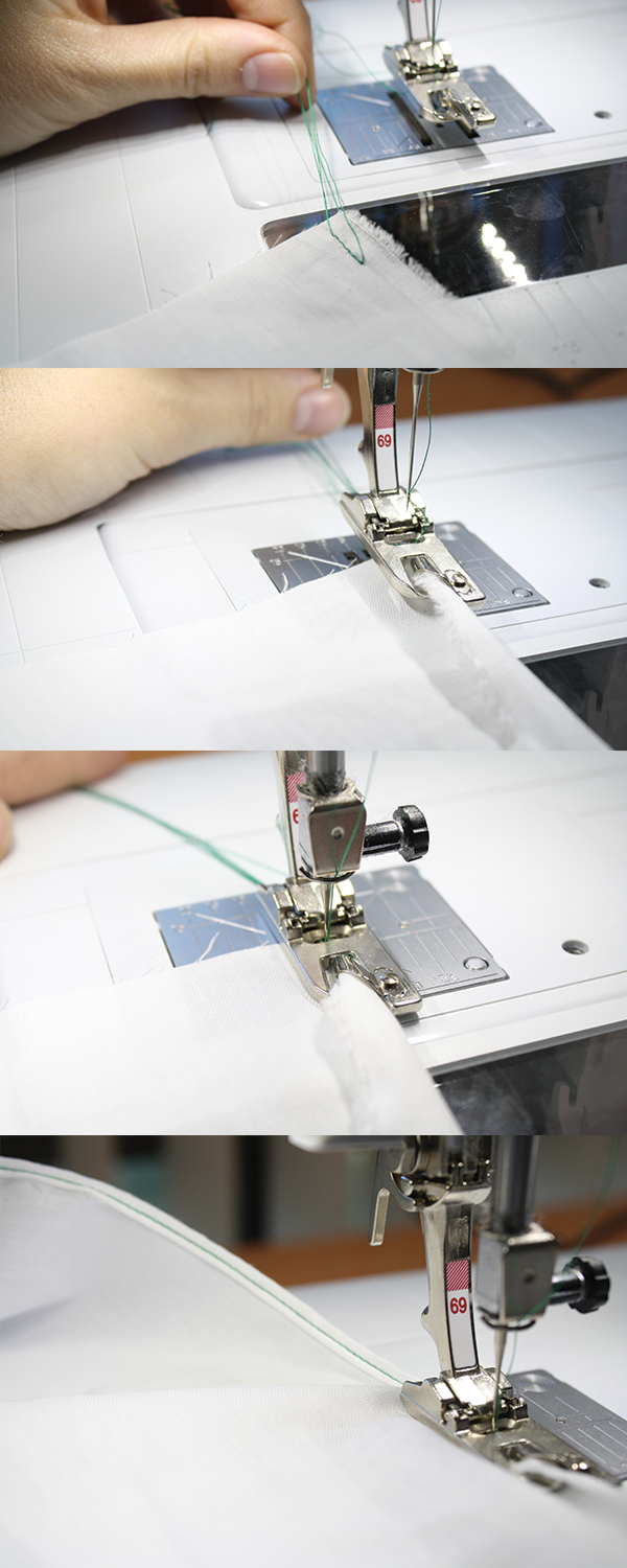 Use your basting threads to guide the hem into the foot and begin sewing