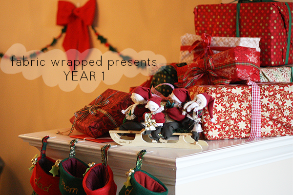 Fabric wrapped Christmas presents: year 1
