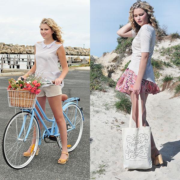 Megan Nielsen Crescent Blouse & I make fashion tote bags on sale!