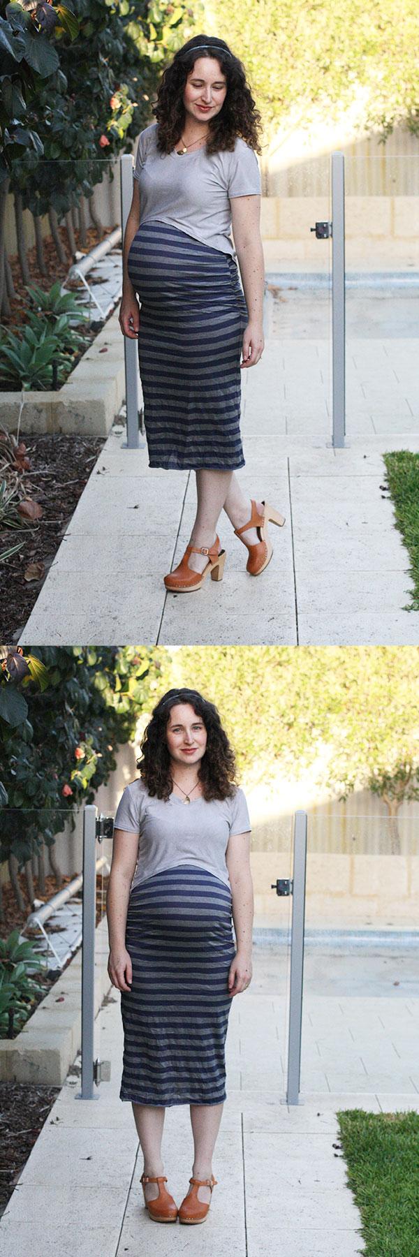 Megan Nielsen maternity style // Ruched midi skirt