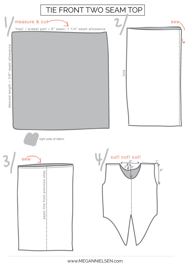 How to make a tie front two seam top