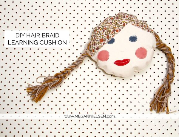 DIY: Hair braid cushion to help your child learn to braid / plait hair. Using only fabrics and yarn!