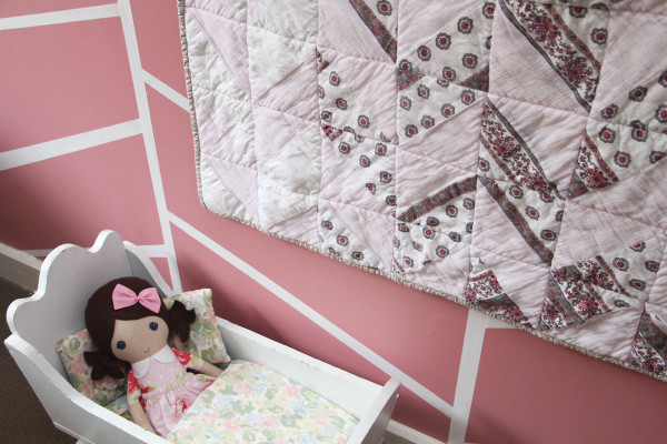 Birdie's swaddle quilt // a herringbone quilt made from baby swaddle blankets.