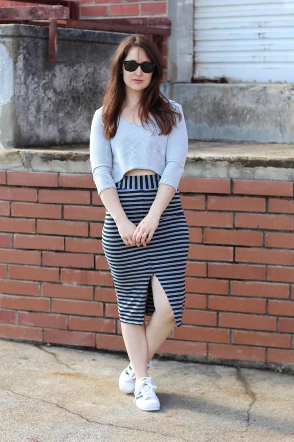 Megan Nielsen Axel skirt V3 in stripes