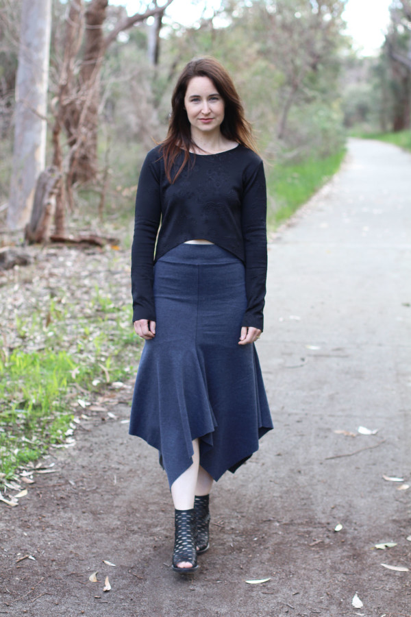 Megan Nielsen Axel skirt in grey ponte knit and Briar cropped tee in embossed scuba