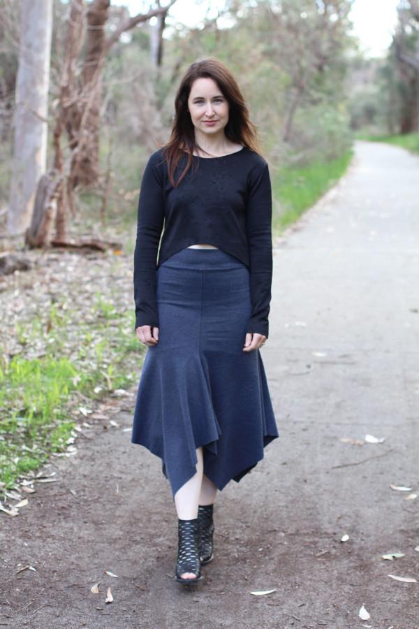 Megan Nielsen Axel skirt in grey ponte knit and Briar cropped tee in embossed scuba