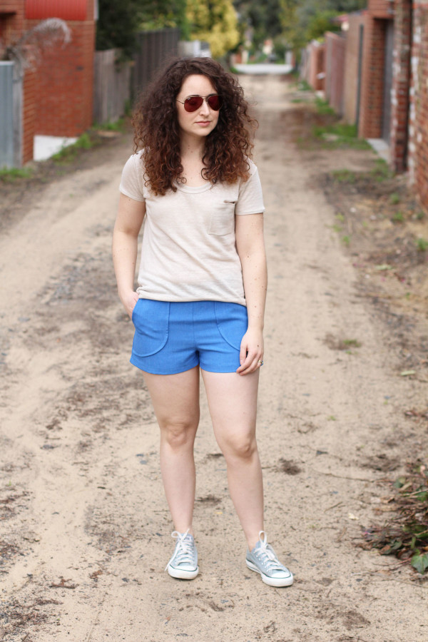 Megan Nielsen Harper shorts in linen look polyester and Briar tee in Linen knit