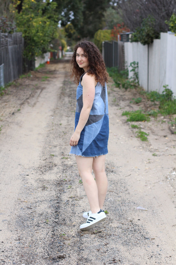 Megan Nielsen Eucalypt tank dress made from old jeans