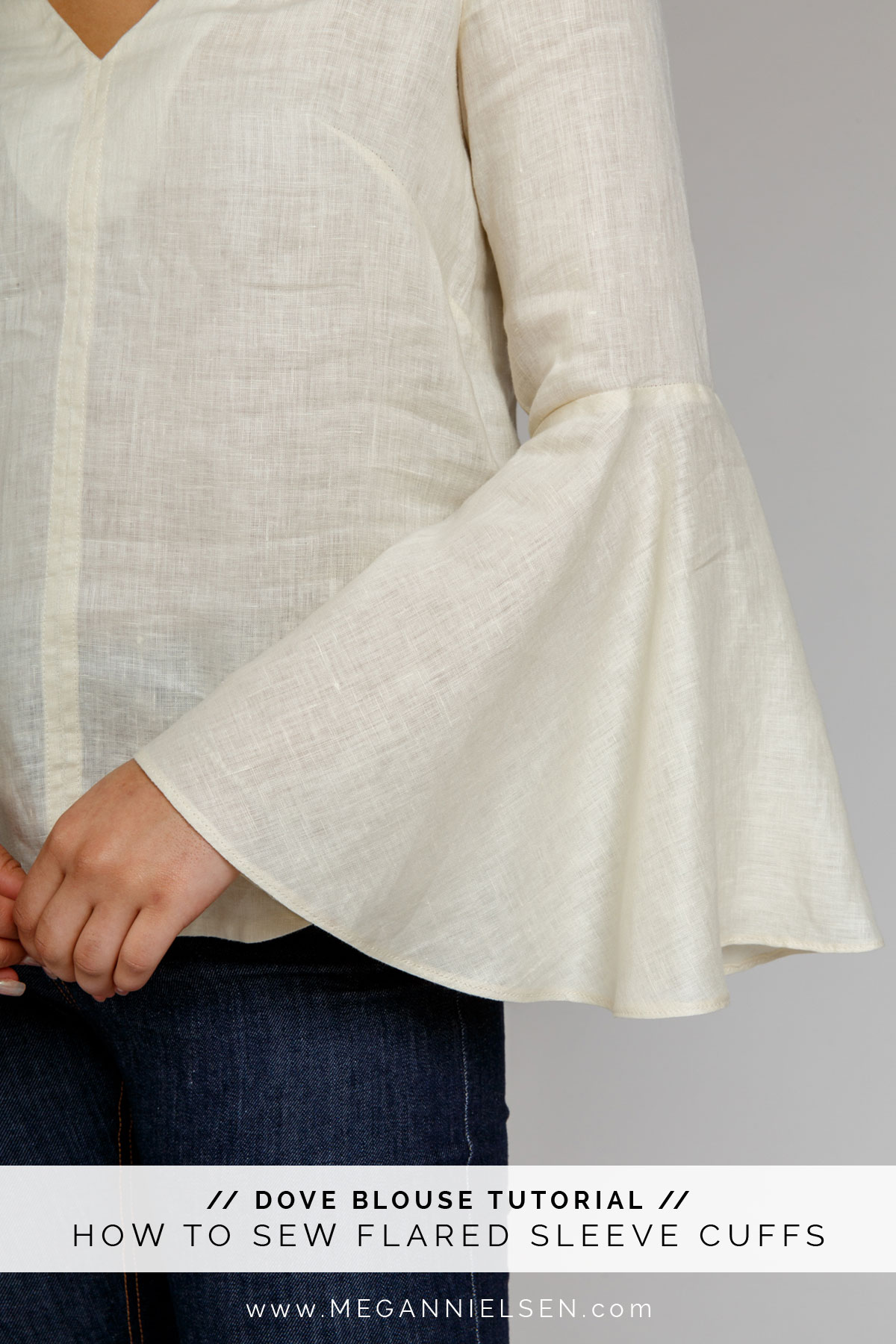 How to sew flared and bell sleeve cuffs! Thorough tutorial by Megan Nielsen Patterns shown on the Dove Blouse sewing pattern