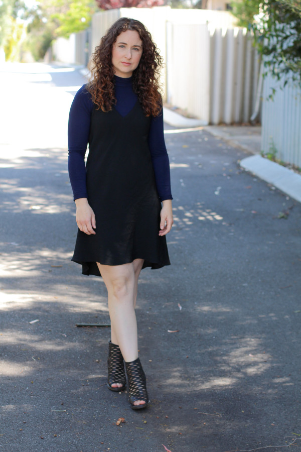 Reef dress layered over navy turtleneck // Megan Nielsen Design Diary