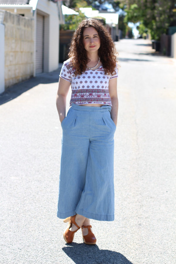 Megan Nielsen Flint pants sewing pattern made in lightweight denim worn with Briar cropped tee