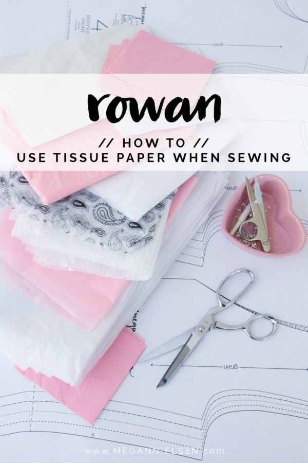 Quick sewing tip! How to use tissue paper to stabilize delicate fabric and knits when sewing // Rowan tee and bodysuit tutorial on Megan Nielsen Design Diary