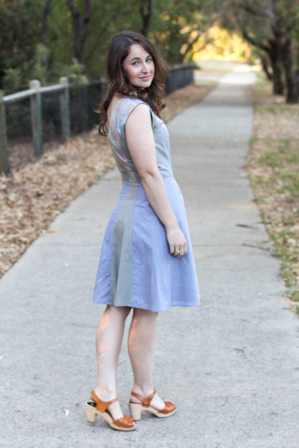 A sleeveless version of the Megan Nielsen Karri dress pattern // made from fabric scraps // Read the whole post on Megan Nielsen Design Diary