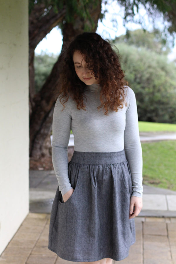 Megan Nielsen Rowan turtleneck bodysuit and Brumby skirt