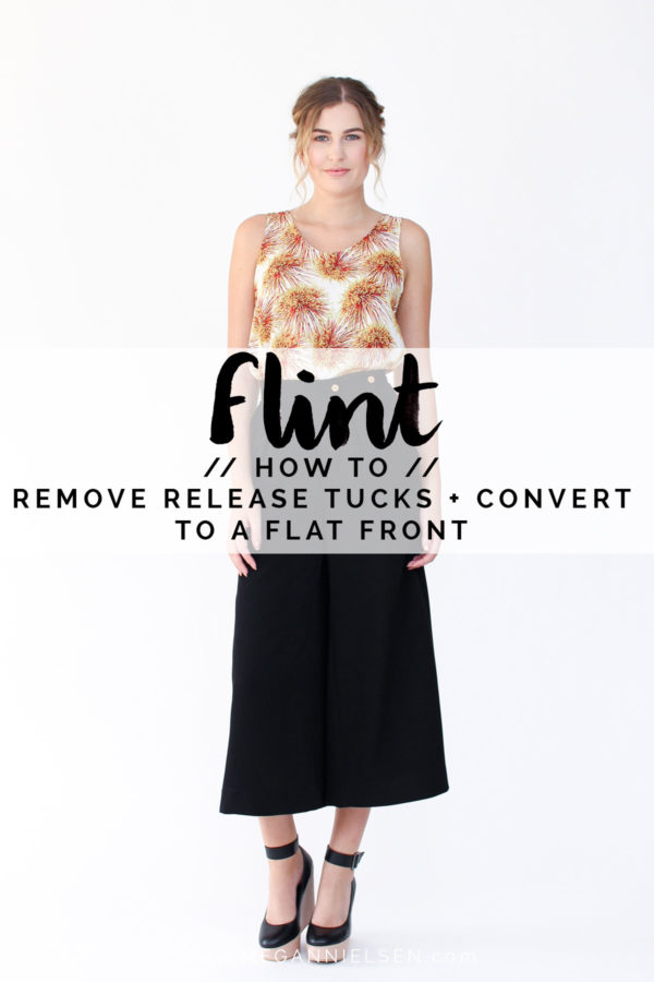 How to remove release tucks and convert to a flat front // Flint pants and shorts sewalong on Megan Nielsen Design Diary