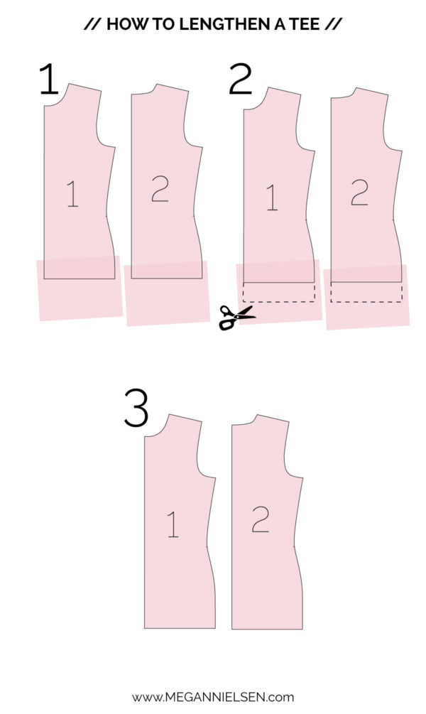 How to lengthen or shorten a tee shirt // Rowan bodysuit and tee sewalong on Megan Nielsen Design Diary