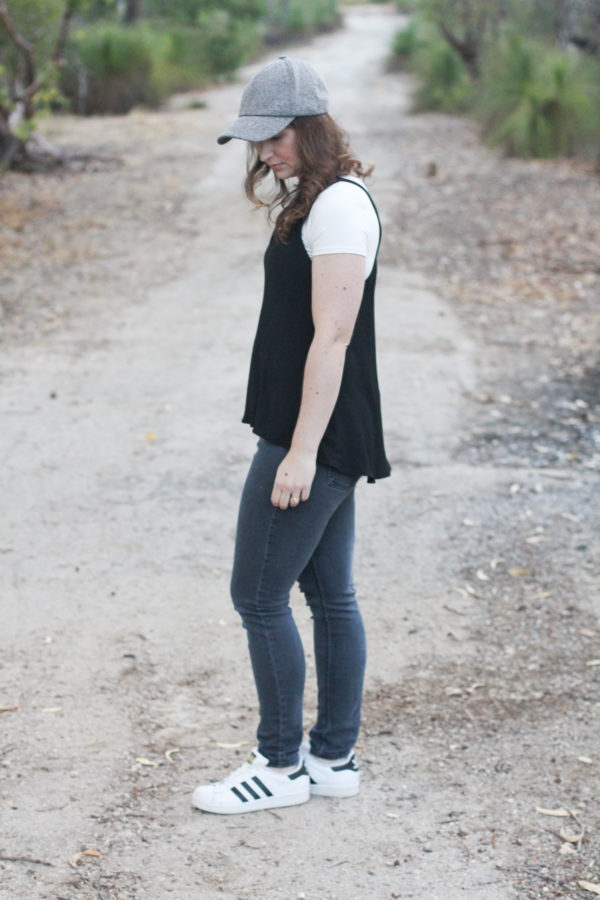 Megan Nielsen black Reef camisole layered over a white Rowan tee