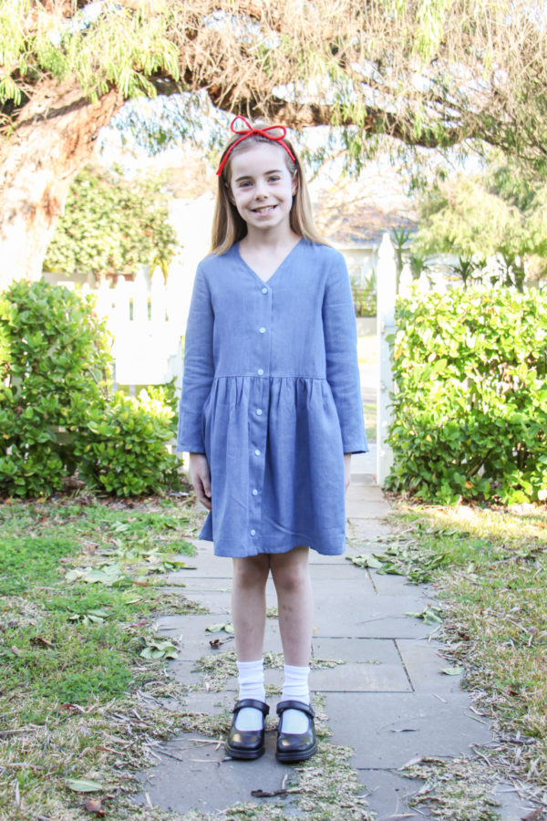 Bunny's Roald Dahl Matilda costume // Mini Darling Ranges dress in chambray // Megan Nielsen Design Diary